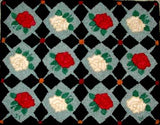 "Roses & Diamonds Pattern on linen, 26.5""x21"""
