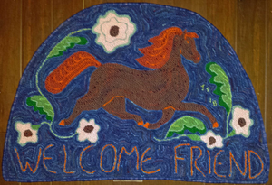 "Welcome Friend Pattern on linen, 33""x22"""