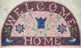 "Welcome Home Pattern on linen, 32""x17"""