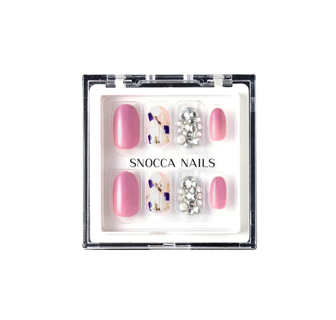 luxury press on nails pink short round