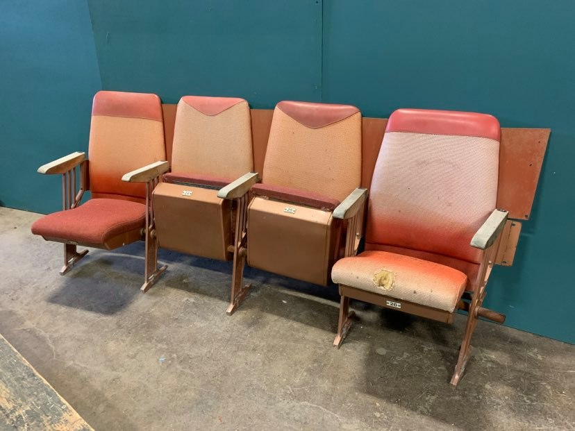 Lot of 4 vintage theater folding seats