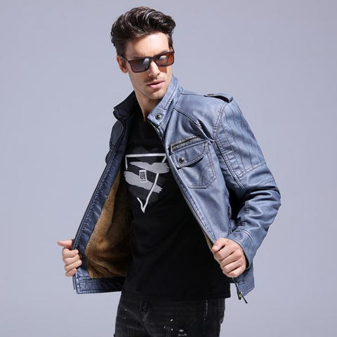 Excelled Synthetic Leather Jacket