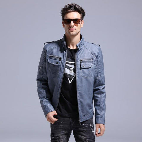 Blue Synthetic Leather Jacket