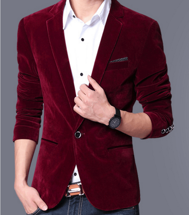 Velvet Blazer - Wine Red / XS- Blazer -HIS.BOUTIQUE
