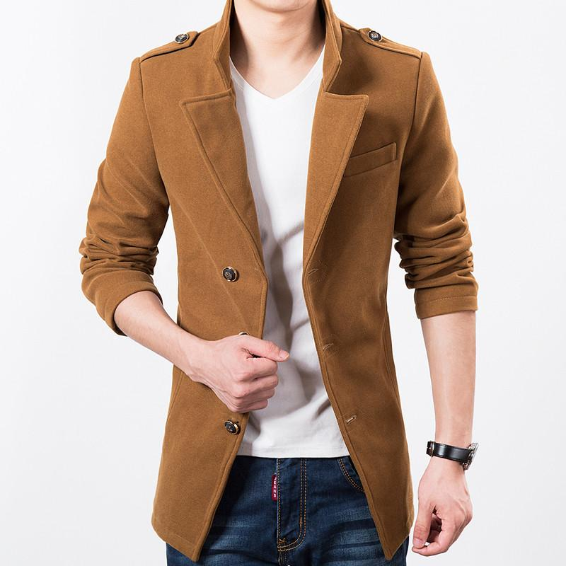 Epaulet Wool Blend Jacket - S / Camel - HIS.BOUTIQUE