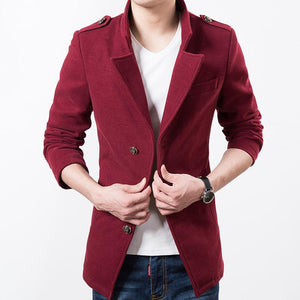 Epaulet Wool Blend Jacket - S / Wine Red - HIS.BOUTIQUE