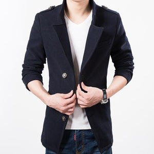 Epaulet Wool Blend Jacket - S / Black - HIS.BOUTIQUE