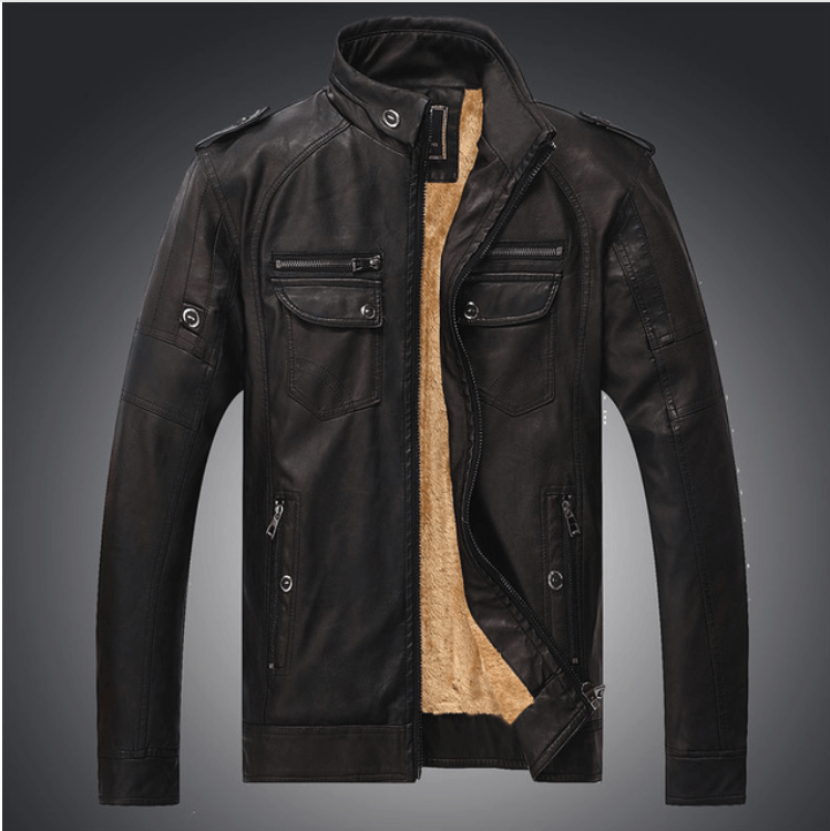 Excelled Synthetic Leather Jacket - Dark Coffee / S- Jacket -HIS.BOUTIQUE