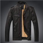 Excelled Synthetic Leather Jacket - Dark Coffee / S - HIS.BOUTIQUE