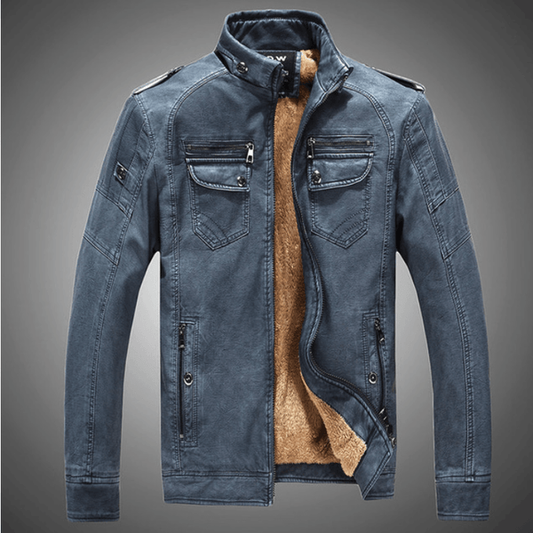 Excelled Synthetic Leather Jacket - Deep Blue / S- Jacket -HIS.BOUTIQUE
