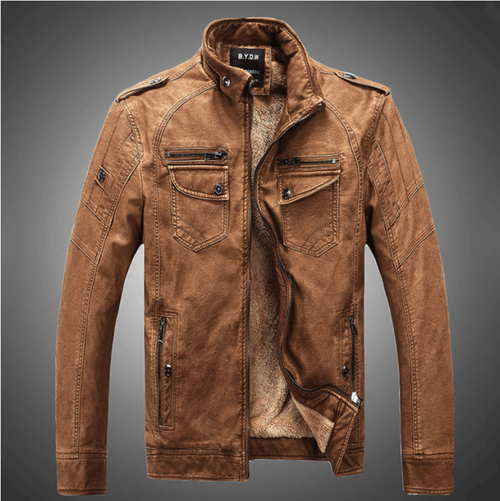 Excelled Synthetic Leather Jacket - Brown / S- Jacket -HIS.BOUTIQUE