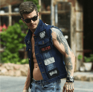 Cowboy Frayed Denim Vest - Blue / XS - HIS.BOUTIQUE