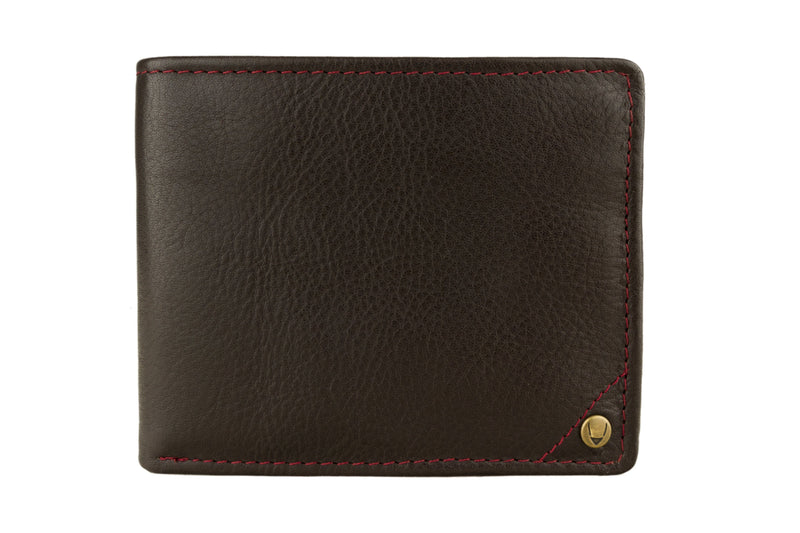 Hidesign Angle Stitch Leather Multi-Compartment Leather Wallet - Coffee - HIS.BOUTIQUE