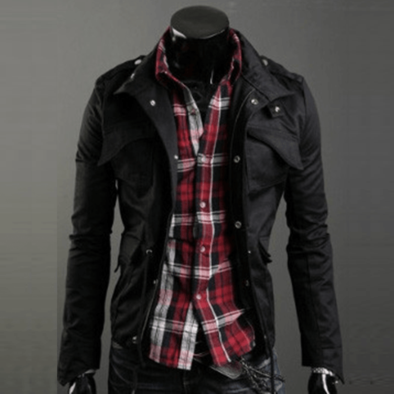 Military Style Jacket - Black / XS - HIS.BOUTIQUE