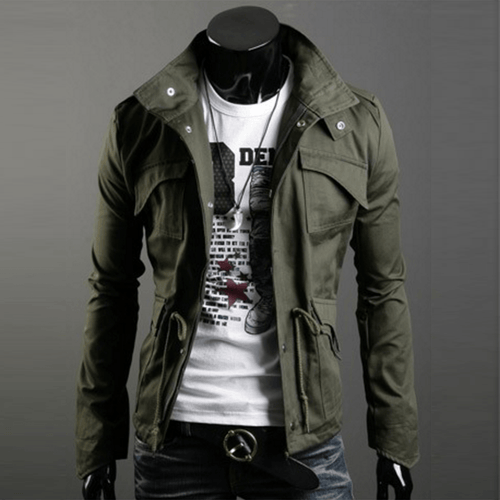 Military Style Jacket - Army Green / XS- Jacket -HIS.BOUTIQUE