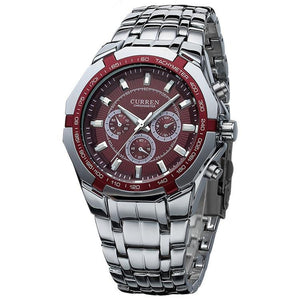 Curren Steel Watch - silver red - HIS.BOUTIQUE