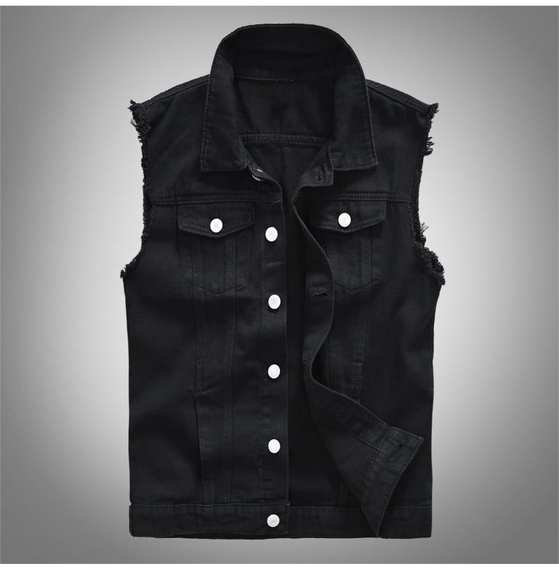 Lapel Denim Vest - Black / S - HIS.BOUTIQUE