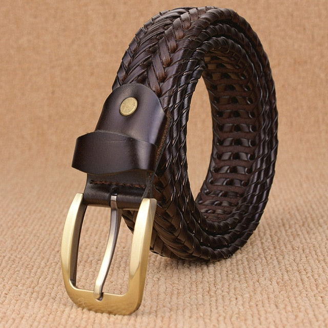 Woven Knitted Belt - deep coffee / 100cm - HIS.BOUTIQUE
