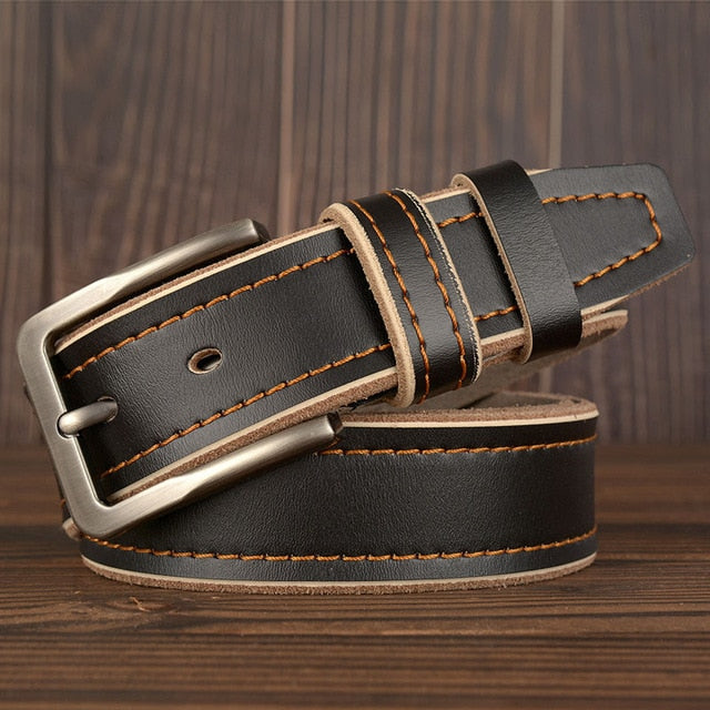 MEDYLA Leather Pin Buckle Belt - Black / 105CM - HIS.BOUTIQUE