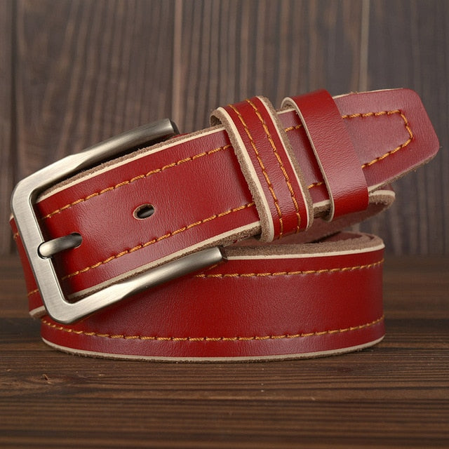 MEDYLA Leather Pin Buckle Belt - Red / 120CM - HIS.BOUTIQUE