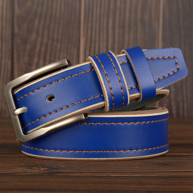 MEDYLA Leather Pin Buckle Belt - Blue / 105CM - HIS.BOUTIQUE