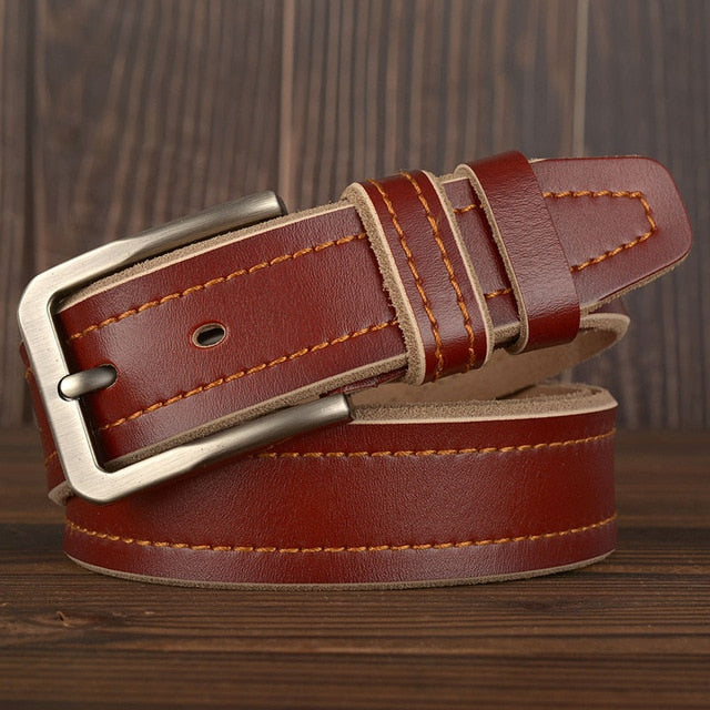 MEDYLA Leather Pin Buckle Belt - Brown / 105CM - HIS.BOUTIQUE