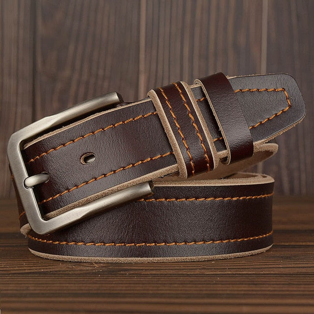 MEDYLA Leather Pin Buckle Belt - Coffee / 105CM - HIS.BOUTIQUE