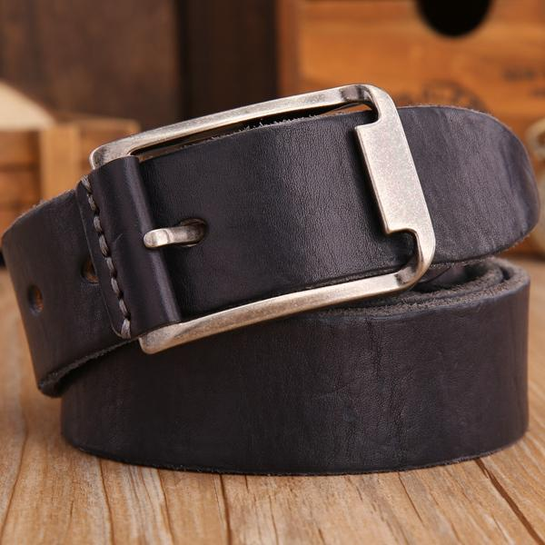 Leather Strap Solid Belt - black / 105cm- Belt -HIS.BOUTIQUE