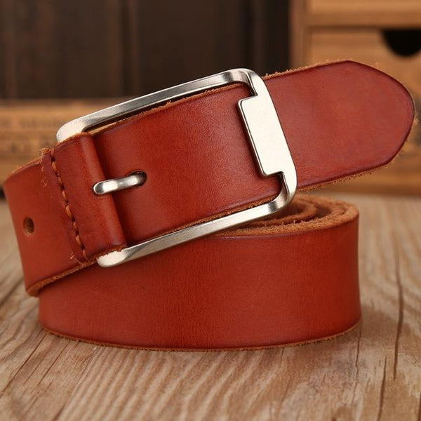 Leather Strap Solid Belt - brown / 105cm- Belt -HIS.BOUTIQUE
