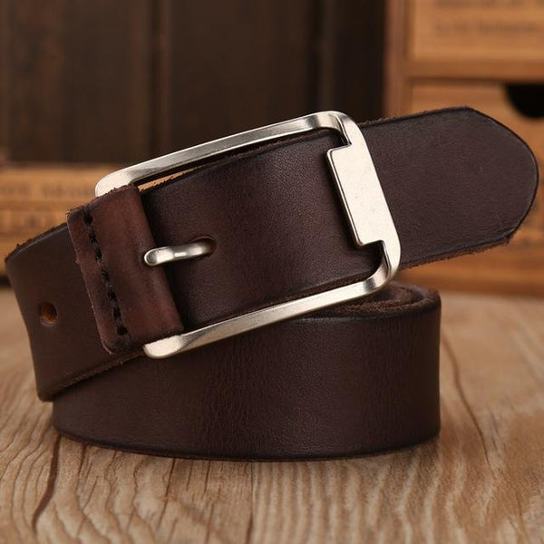 Leather Strap Solid Belt - coffee / 105cm- Belt -HIS.BOUTIQUE