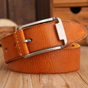 Leather Strap Solid Belt - camel / 105cm - HIS.BOUTIQUE