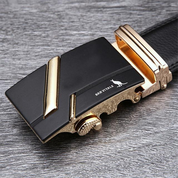 Stylo Leather Belt - SV 1427G / 110cm / Black- Belt -HIS.BOUTIQUE