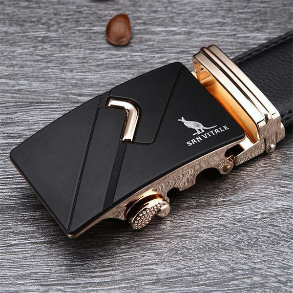 Stylo Leather Belt - SV 1428G / 110cm / Black- Belt -HIS.BOUTIQUE