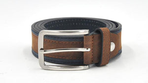 Casual Patchwork Belt - BrownNavy / 100cm - HIS.BOUTIQUE