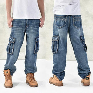 Loose Big Pockets Jeans - Blue / 30 - HIS.BOUTIQUE