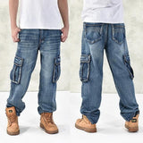 Loose Big Pockets Jeans - Blue / 30- Pants -HIS.BOUTIQUE