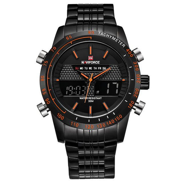 NAVIFORCE Sports LED Watch - black orange- Watches -HIS.BOUTIQUE
