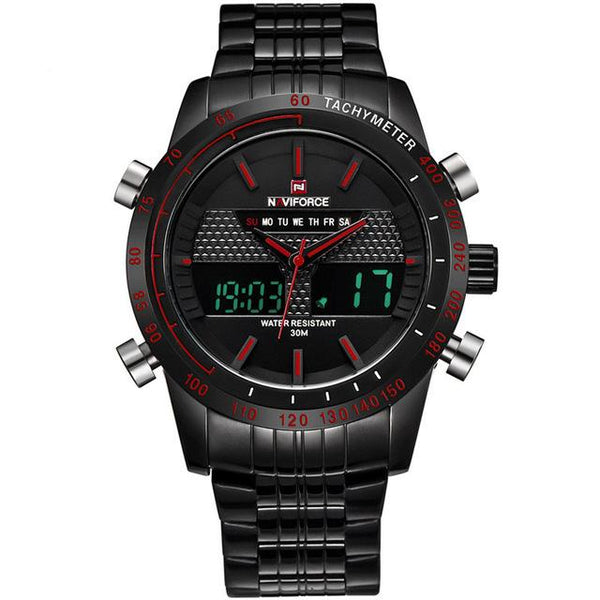 NAVIFORCE Sports LED Watch - black red- Watches -HIS.BOUTIQUE