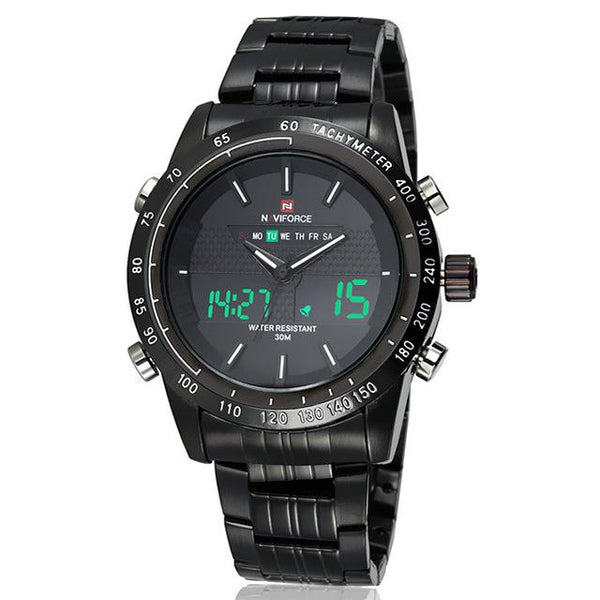 NAVIFORCE Sports LED Watch - black white- Watches -HIS.BOUTIQUE