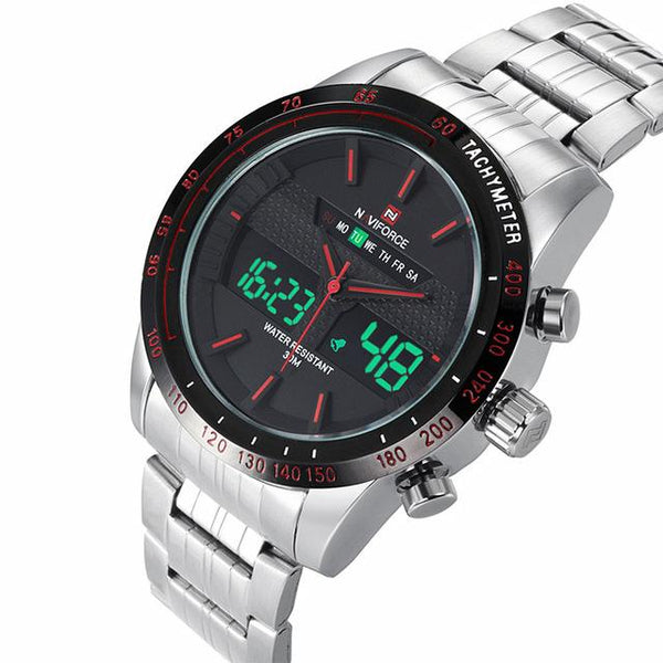 NAVIFORCE Sports LED Watch - white red- Watches -HIS.BOUTIQUE