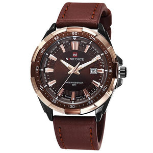 NAVIFORCE Leather Sports Watch - Black Gold - HIS.BOUTIQUE