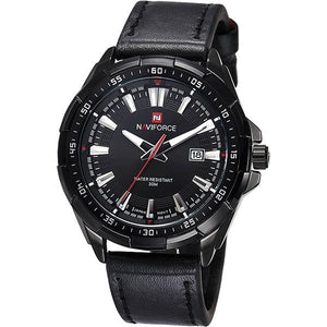 NAVIFORCE Leather Sports Watch - Black - HIS.BOUTIQUE