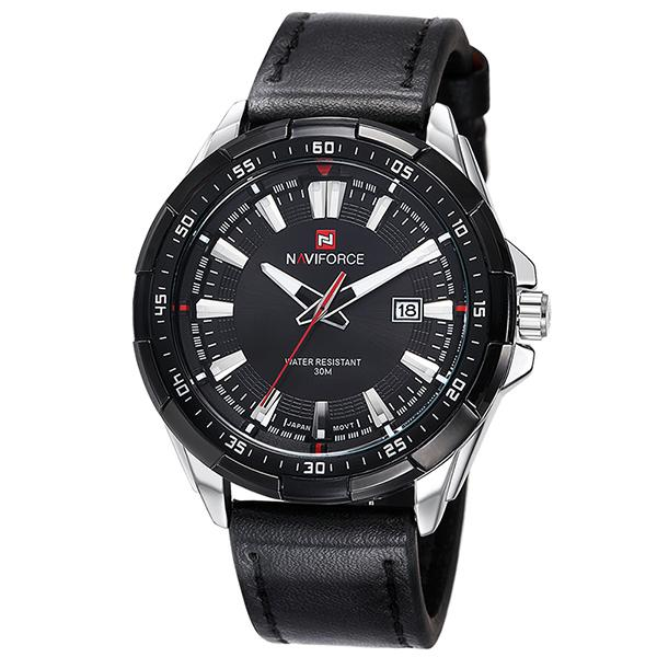 NAVIFORCE Leather Sports Watch - Silver Black - HIS.BOUTIQUE