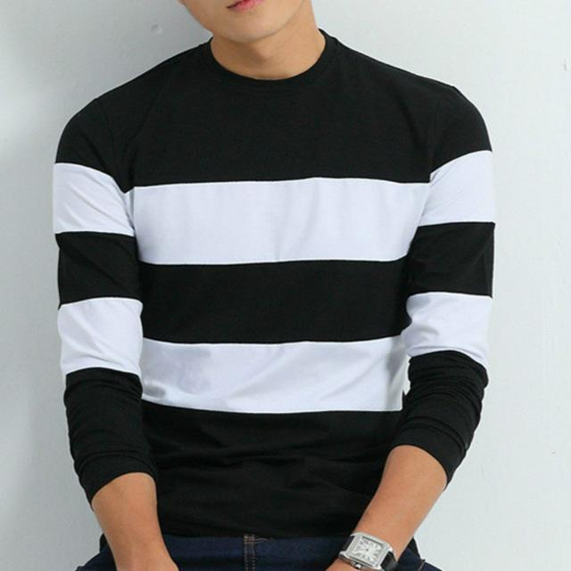 Striped Long Sleeve T Shirt - Black / XS- T-Shirt -HIS.BOUTIQUE