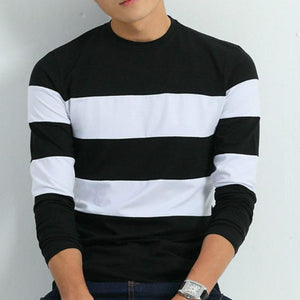 Striped Long Sleeve T Shirt - Black / XS - HIS.BOUTIQUE