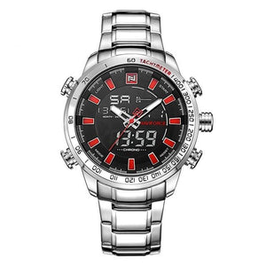 Men's Digital Quartz - Silver Red - HIS.BOUTIQUE