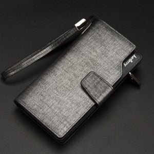 Leather Card Holder Wallet - Gray- Handbags, Wallets & Cases -HIS.BOUTIQUE