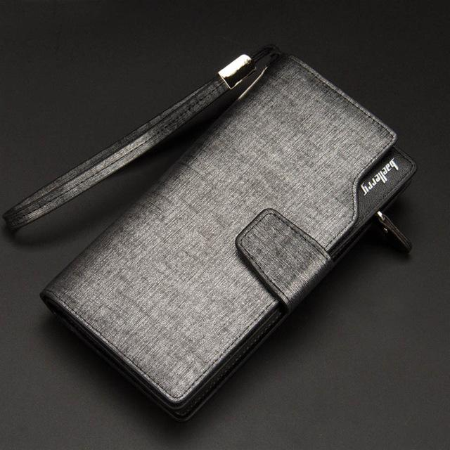 Leather Card Holder Wallet - Gray - HIS.BOUTIQUE
