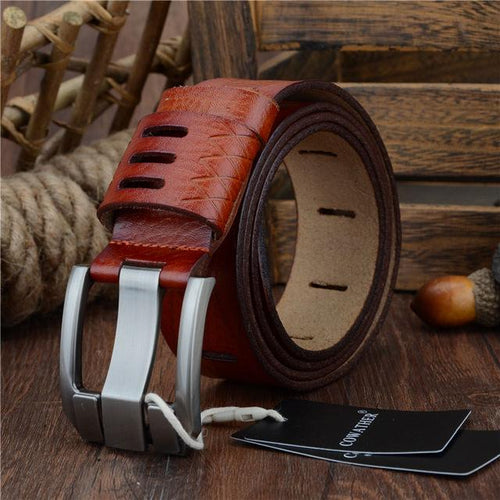 COWATHER Leather Belt - red / 110cm- Belt -HIS.BOUTIQUE