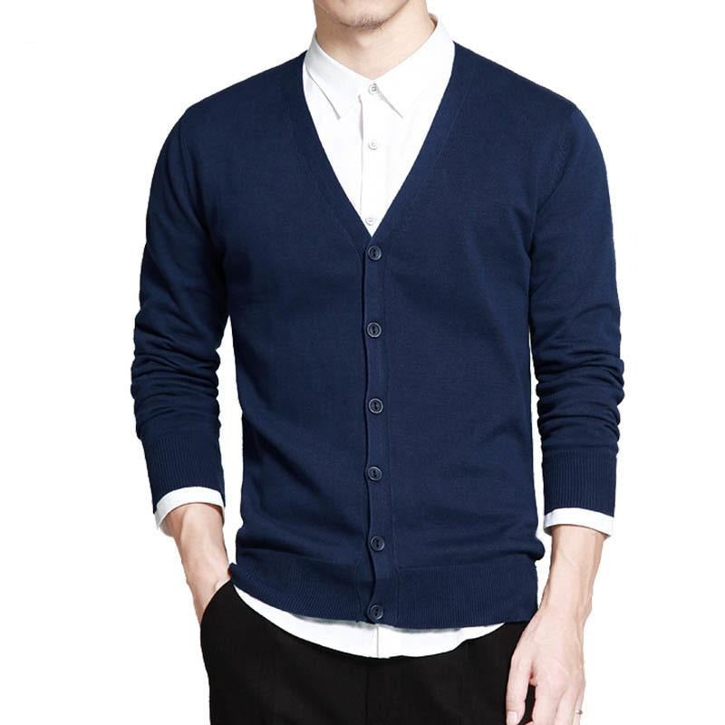 V-Neck Solid Button Cardigan - Blue / XS - HIS.BOUTIQUE